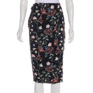 A.L.C. Silk Floral Midi Skirt